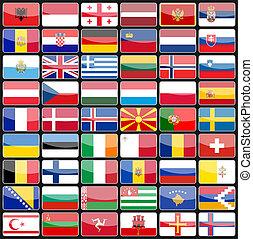 icone, elementi, bandiere, europe., disegno, paesi