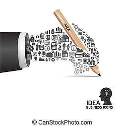icone, elementi, finanza, uomo affari, attivo, mano, fare, forma., matita, vettore, illustration., concetto, piccolo