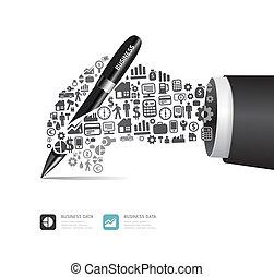 icone, elementi, finanza, uomo affari, attivo, mano, fare, forma., penna, vettore, illustration., concetto, piccolo