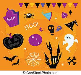 icone, elementi, halloween, disegno
