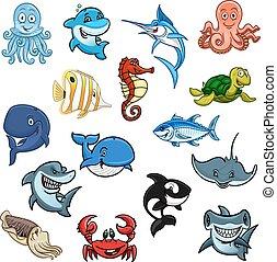 icone, fish, animali, oceano, mare, cartone animato