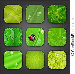 icone, foglie, sfondi, struttura, ecologic, app