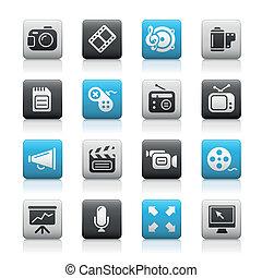 //, icone fotoricettore, multimedia, serie, metallina