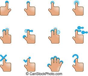 icone fotoricettore, -, tocco, gesti