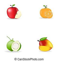icone, frutte, foto, vettore, set, dettagliato, realistico