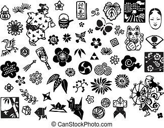 icone, giapponese, contrassegni