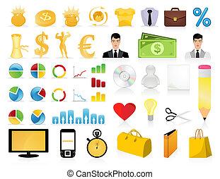 icone, grande, illustrazione, sites., vettore, collezione