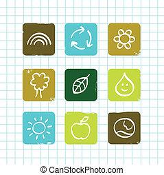 icone, griglia, scarabocchiare, isolato, educazione, natura, scuola, bianco