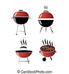icone, griglia, set, vettore, disegno, appartamento, barbecue