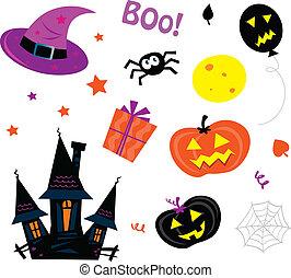 icone, halloween, set, bianco