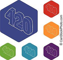 icone, hexahedron, canapa, vettore, tempo, 420, fumo