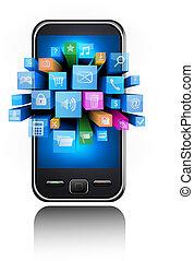 icone, in, uno, smartphone., vettore