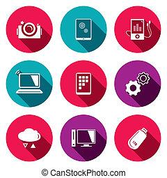 icone, informazioni, scambio, set, appartamento, tecnologia