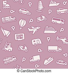 icone, involucro, seamless, fondo, carta, trasporto