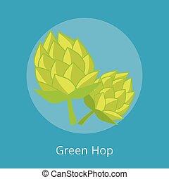 icone, isolato, illustrazione, vettore, verde, luppolo