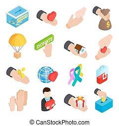 icone, isometrico, donare, dato, 3d