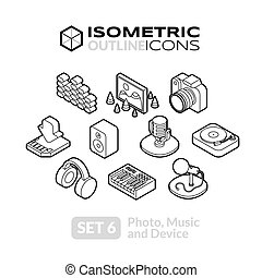 icone, isometrico, set, contorno, 6