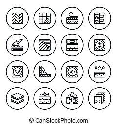 icone, linea, set, rotondo, pavimento