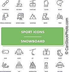 icone, linea, sport, snowboard, set.