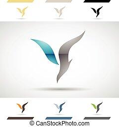 icone, logotipo, y, lettera, forme