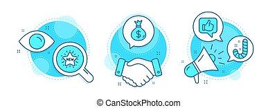 icone, lollypop., sacco soldi, pollici, come, nuovo, stella, segno., valuta, su., usd, set., shopping, caramella, affari, vettore