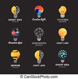 icone, luce, -, creativo, idea, bulbo, tecnologia