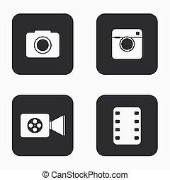 icone, macchina fotografica, moderno, set, vettore