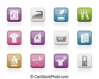 icone, macchina, lavaggio, bucato
