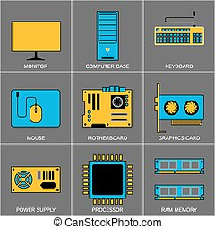 icone, marcare caldo, digitale, programmazione, dati, presentazione, internet, set, visualisation., promozione, disegno, linea, marketing, campagna, appartamento