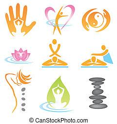 icone, massaggio, terme