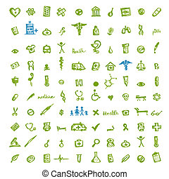 icone mediche, per, tuo, disegno