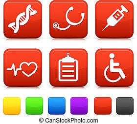 icone mediche, su, quadrato, internet, bottoni