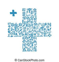 icone, medico, attraversi forma, disegno, tuo