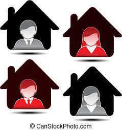 icone, -, membro, vettore, avatar, femmina, utente, maschio