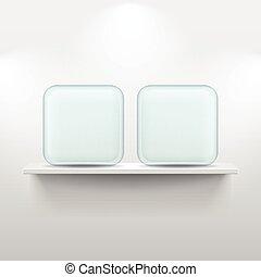 icone, mensola, app, vetro, fondo, bianco