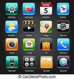 icone, mobile, domande