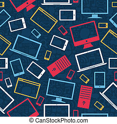 icone, mobile, modello, tavoletta, seamless, computer