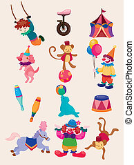 icone, mostra, felice, circo, collezione, cartone animato