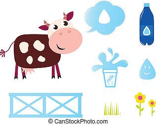 icone, mucca latte, isolato, collezione, latteria, bianco