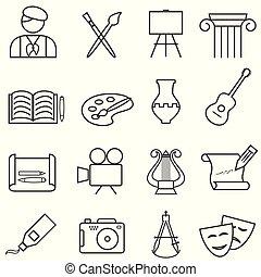 icone, musica, pittura, linea, arti, multa