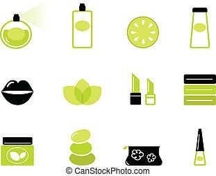 icone, &, nero, wellness, (, isolato, -, cosmetico, verde, ), bianco
