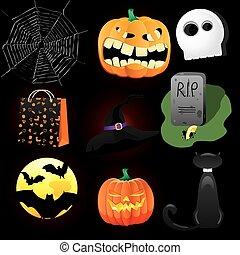 icone, nove, editing., raggruppato, halloween, illustrazione, divertimento, icons., collezione, vettore, facile