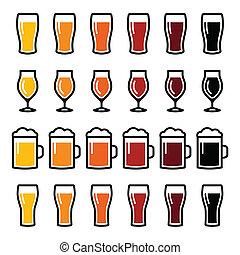 icone, occhiali, differente, birra, tipi