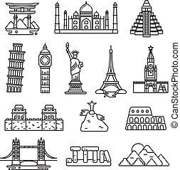 icone, paese, vettore, punto di riferimento, internazionale, linea