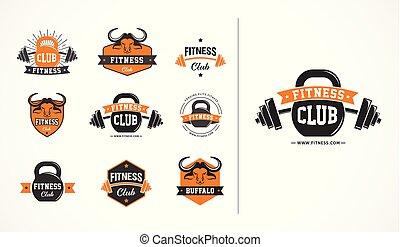 icone, palestra, club, emblema, collezioni, idoneità, o, logotipo