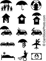 icone, per, assicurazione, industria