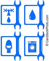 icone, per, idraulica, riparazione