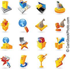 icone, per, vendita dettaglio, commercio