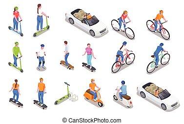 icone, personale, set, trasporto, isometrico