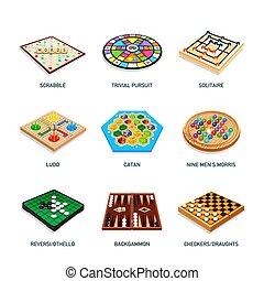 icone, popolare, gioco cartolina